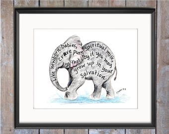 Baby Elephant Bible Verse art print, scripture design, hand lettered typography, wall art decor