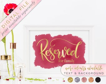 Reserved Sign, Printable, Reserved Seat Sign, Reserved Sign Wedding, Reserved Family Sign, Reserved Row Sign, Reserved Table Sign
