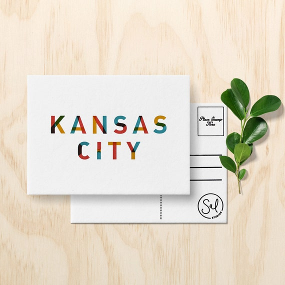 Kansas city postcard kansas city art letterpress postcard reheart
