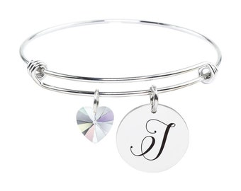 Initial Bangle made with Crystals from Swarovski - J - SWABANGLE-GLD-AB-J - Silver