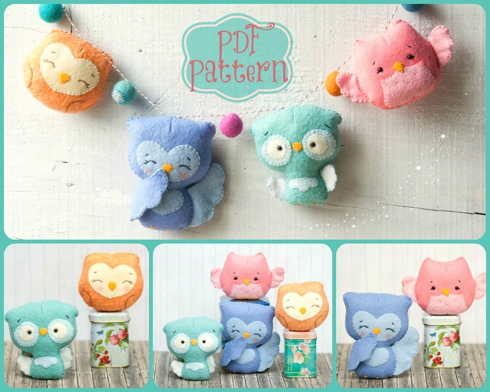 PDF. Owl family garland. Plush Doll Pattern Softie Pattern