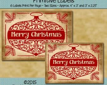 Christmas Printable - Christmas Tag -  Christmas labels - Printable Christmas Tag - Christmas Ornament Tags - Printable PDF or JPG File