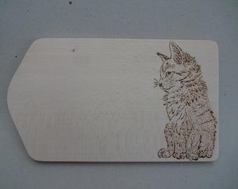 Cat Vesperbrett cutting board wood pyrography gift idea