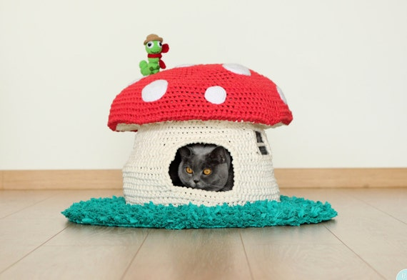 Pattern Into The Woodland House Pet Bed Crochet Cat Cave
