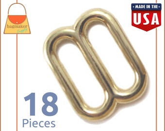 "5/8 Inch Slides for Purse Straps, Shiny Brass Finish, 18 Pieces, Handbag Bag Making Hardware Supplies, 5/8"", BKS-AA039"