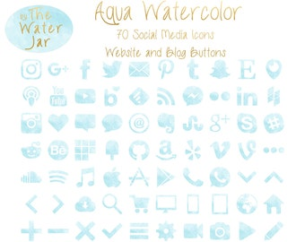 Aqua Watercolor Social Media Icons in Aquamarine Finish, Blue Green Watercolor Social Icons, Blog Icons, Website Buttons, Commercial Use