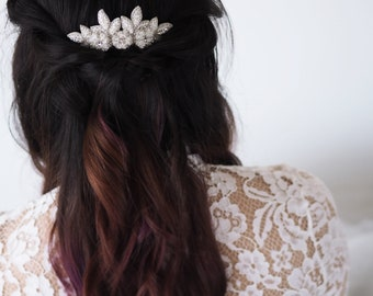 BRI Comb Silver Flower Bridal Hair Accessories, Wedding Ivory Floral Headpiece (#302)