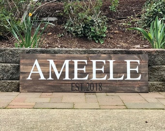 Rustic Home Decor Family Name Sign - Established Date Sign for Aniversary- Wedding Sign- Wedding Gift- Housewarming gift - Rustic Home Decor