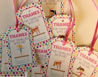 Gymnsatic Birthday Party Personalized Favor Tags, Thank You Tags, Treat Tags, Goody Bags, Party Favors, Party Decorations, Set of 12