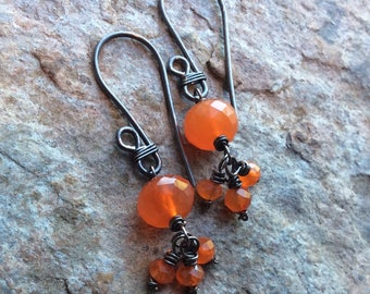 CARNELIAN Earrings, sterling silver, petite, handmade jewelry, orange gemstone, AngryHair Jewelry