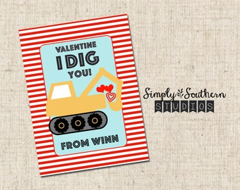 Personalized - I Dig You - Printable Valentine