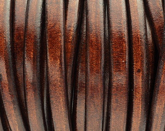 """Whiskey Brown Licorice Leather - 8""""/20cm - 10x6mm Best Quality Licorice Leather"""