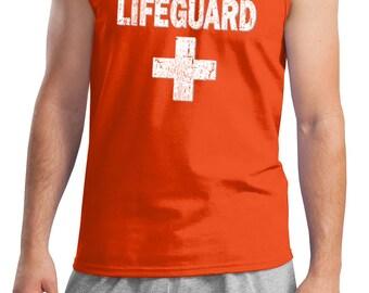 Men's Funny Tanktop Distressed Lifeguard Tank Top DISTRESSEDLIFEGUARD-2200