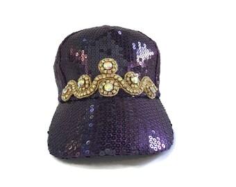 "Women's Baseball Hat, Golf Visor Hat, Mother's Day, Golf Gift, Baseball Cap in Purple Sequins and Gold AB Rhinestone Bling -""SASSY SEQUINS"""""