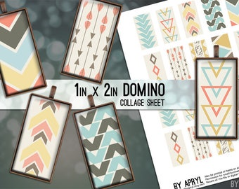 Tribal Geometric 1x2 Domino Collage Sheet Digital Image for Domino Pendants Magnets Scrapbooking Journaling JPG