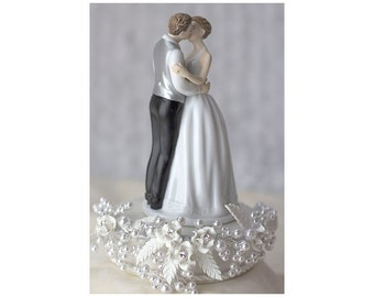 Romance Rose Pearl Wedding Cake Topper (Silver or Gold) - Custom Painted Hair Color Available - 101169