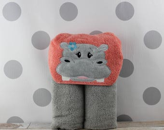 Kids Girl Hippo Hooded Towel - Hippo Towel for Bath, Beach, or Swimming Pool - Children's Hippopotamus Towel - Great Christmas Gift Idea!