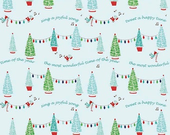 Pixie Noel by Riley Blake - Trees Aqua - Cotton Woven Fabric
