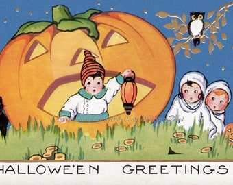 Halloween Pumpkin Card - Vintage Image - Kids w Huge JOL Cat Owl