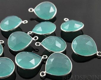 Aqua Chalcedony Bezel Heart Shape Gemstone Component,  16mm, 1 Piece, (SSBZ6084)