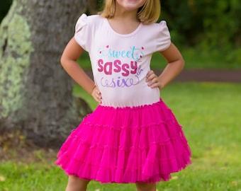Girls 6th Birthday Dress, Sweet Sassy and Six, Sixth Birthday, Girls Birthday Tutu Dress, Party Dress