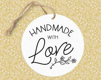Handmade with Love Circle Gift Tag / Retail Hang Tag / Handwritten Gift Tag / Business Branding / Handwritten Gift Tag / DIY Gift Tag