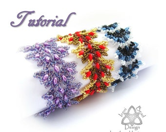 Pdf Tutorial Flamenco Bracelet with Super Duo Beads. Beadwork, Hubble Stitch, Pattern, Instructions. English Only,