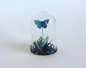 Mini Book with Butterfly, Blue Butterfly, Miniature Paper Book, Gift for Mum, Paper Anniversary, Paper Art, Gift for her, Paper Gift