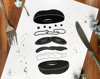 Bagel and Lox Kitchen Print