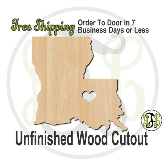 Louisiana with Heart- 60129- Cutout, unfinished, wood cutout, wood craft, laser cut shape, wood cut out, Door Hanger, wooden, wall art