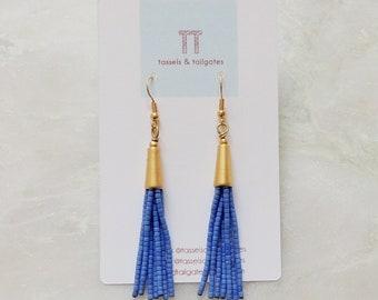 Poppy Petite Periwinkle Beaded Tassel & Matte Gold Earrings