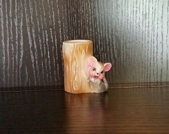 Mouse vase. Mouse on the side of a tree branch. Toothpick holder.