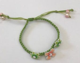 Macrame Bracelet with Flower Sliders, Spring Collection, A New Beginning