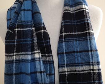 Blue Plaid Flannel Scarf, Men's Flannel Scarf, Flannel Plaid Scarf, Gift under 25, Women's Flannel Scarf, Flannel Scarf, Gift, FREE SHIPPING