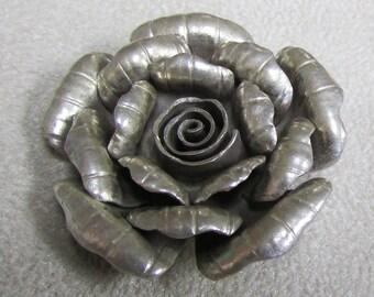 Sterling Silver Handmade 3D Rose Pendant