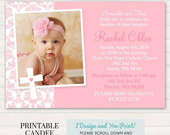 Pink Baptism Invitation - Pink Christening Invitation - Girl Baptism - Girl Christening - Printable Baptism - Printable Christening