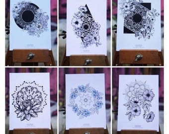 Set of 6 postcards, flowers & Mandalas