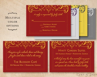 Printable Wedding Enclosure Cards - Bollywood Ornate - 3.5x5 - Customized Formal Filigree Elegant Indian - Red Gold Plum Silver Navy Yellow