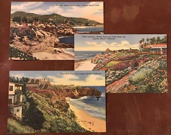 Vintage Set of 3 Linen Finish Scenic California Coastline Postcards