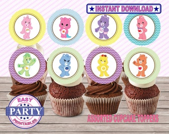 SALE Care bears Instant Download Cupcake toppers easily print from home, printable toppers, instant download, DIY, party printables, girls