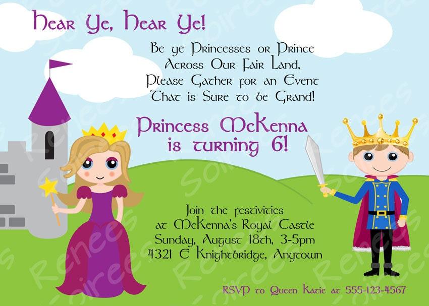 PRINCE & Princess or PRINCESS / KNIGHT Printable Invitation