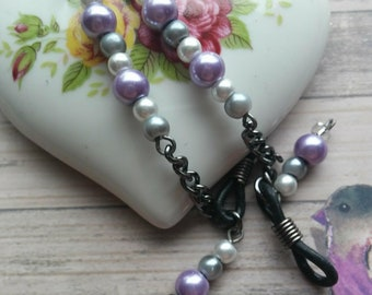 Glasses Chain, Gun Metal Colour Chain for Holding Glasses or Sunglasses on Neck, white grey and lilac beaded Glasses Chain for Women