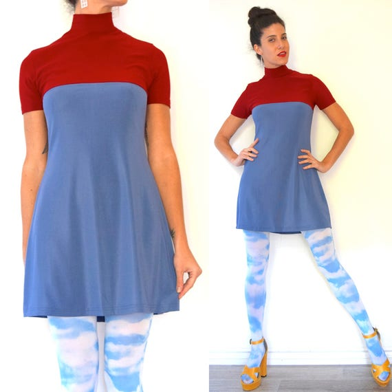 Vintage 90s does 60s Mod Periwinkle Blue and Brick Red Color Blocked Mini Dress (size small, medium)