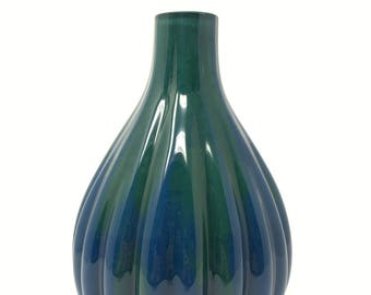 Blue and Green Vase // Hand Painted Glass