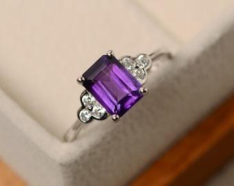 Purple amethyst ring, gemstone ring, emerald cut amethyst, sterling silver, February birthstone ring