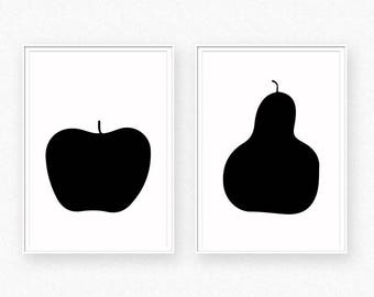 Apple and pear, apple and pear wall art, apple print, scandinavian wall art, nordic decor, minimalist wall. apple and pear poster, nordic
