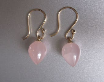Small Pointed Rose Quartz Drops Solid 14k Gold Earrings