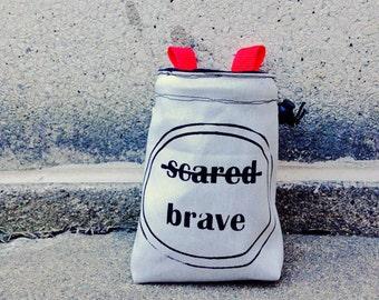 ALL.BRAVE.. handmade, screenprinted, rock climbing chalkbag ..ready to ship