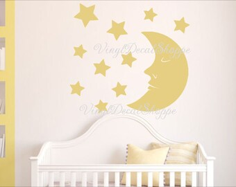 Moon Nursery Wall Decal, Baby Room Wall Decal,Moon and Stars Decal, Cute Baby Room Decor, Custom Wall Decal, Wall Sticker, Baby Shower Gift