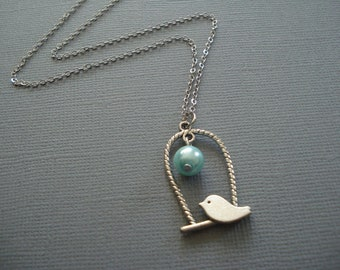 Turquise Pearl Bird in my Window Necklace